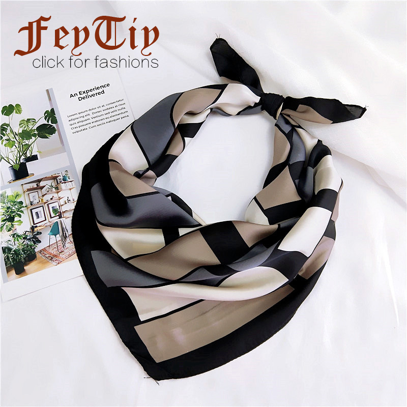 Black Plaid Kerchief Fashion Square Scarf Women Foulard Office Neck Wraps High Quality Small Headband 70*70cm Hostess Scarves