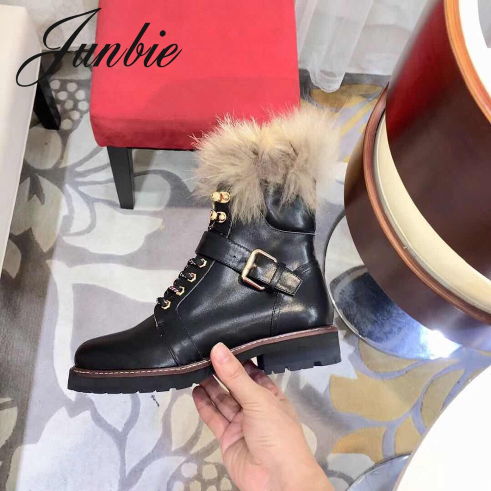 JUNBIE New Genuine Real Fur Lace Up Women Ankle Boots Round Toe Low Heel Moto Boots Winter Boots Shoes Women