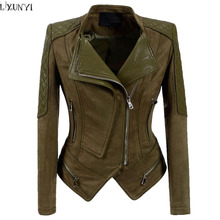 LXUNYI 2017 Autumn Winter Korean Leather jacket Female Army Green Slim Short Handsome Motorcycle jacket Women Ladies Suede Coat