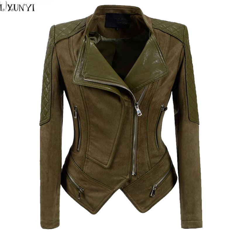 LXUNYI 2019 Spring Autumn Korean   Leather   jacket Female Army Green Slim Short Handsome Motorcycle jacket Women Ladies   Suede   Coat