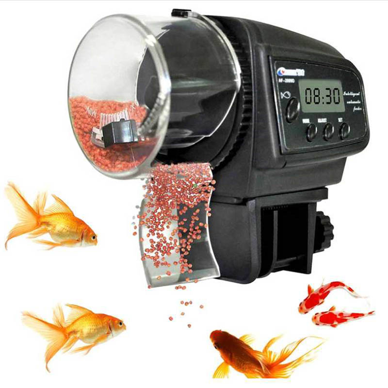 Aquarium 65mL Automatic Fish Feeder for Aquarium Fish Tank Auto Feeders with Timer Pet Feeding Dispenser LCD Display Fish Feeder image