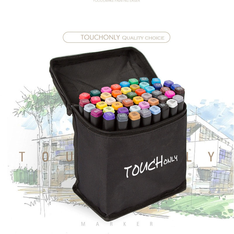 TOUCHONLY Markers Pen Set 40/60/80/168 Color Animation Sketch Drawing Marker Art Pens Alcohol Based With Manga Design Art Gifts touchfive 60 80 168 color art markers set oil alcohol based drawing artist sketch markers pen for animation manga art supplies