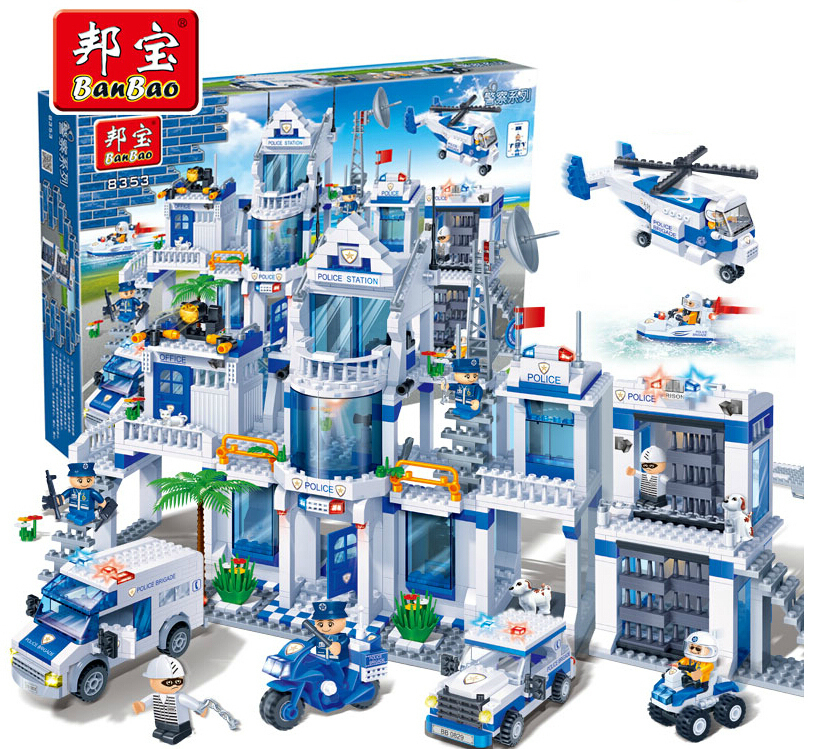 kazi city police station swat helicopter speedboat diy model building kits education toys for children festival gift for friends Model building kits compatible with lego city police station 3D blocks Educational model building toys hobbies for children