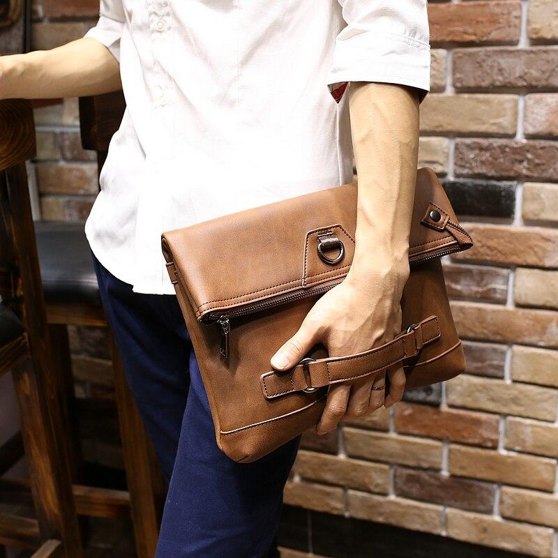 New Vintage Men Crazy Horse Pu Leather Designer Tote Handbag S Large Capacity Fashion Brown Envelope Clutch Bag Shoulder On Aliexpress Alibaba