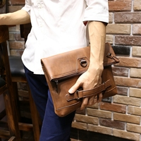 New Vintage Men Crazy Horse PU Leather Designer Tote Handbag Men's Large Capacity Fashion Brown Envelope Clutch Bag Shoulder Bag