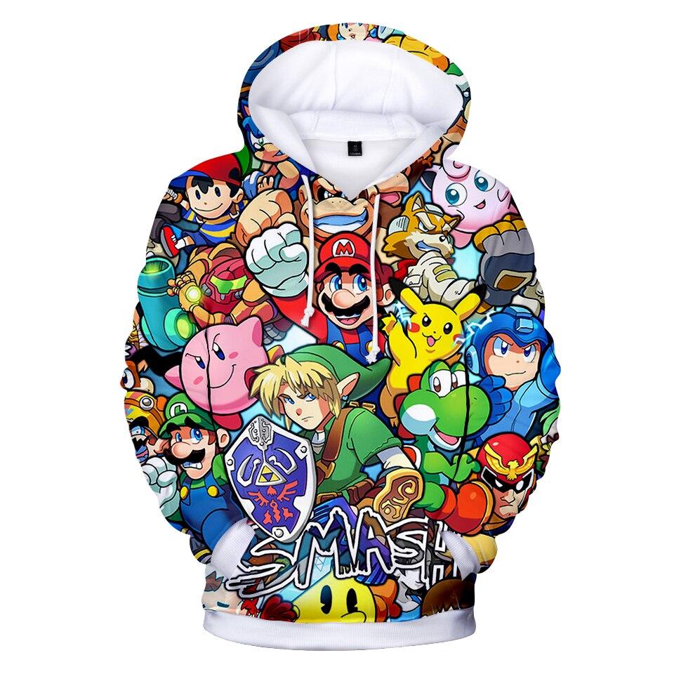 3-20 Years Hoodies Super Smash / Zelda / Pikachu 3D Full Print Hoodie Sweatshirt Boys Girls Long Sleeve Streetwear Jacket Coat