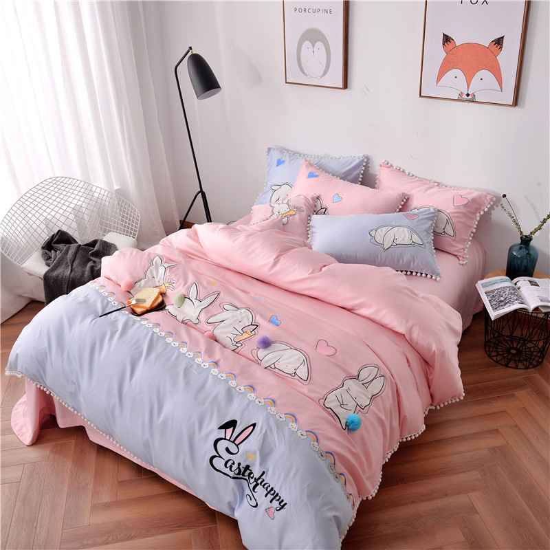 Pink Cartoon Cute rabbit 60S Egyptian cotton Comfortable Bedding Set Duvet Cover Bed Linen Bed sheet Pillowcases Gift For Child