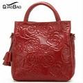 QIAO BAO Nuevo 2017 bolso de la Flor Bolso de Cuero Repujado Bolso Del Ocio Mujeres Messenger Bags Bolsa de Asas Casual