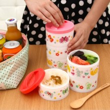 BF015 Cute Three layers of bento microwave box food storage box 10*17cm free shipping