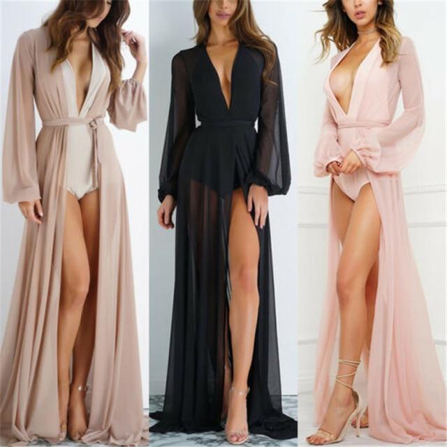 2020 Summer Brand Feminino Women Transparent Beach Maxi Dress Swimwear Bikini Cover-up Tunic Chiffon Female Bathing Suit 1