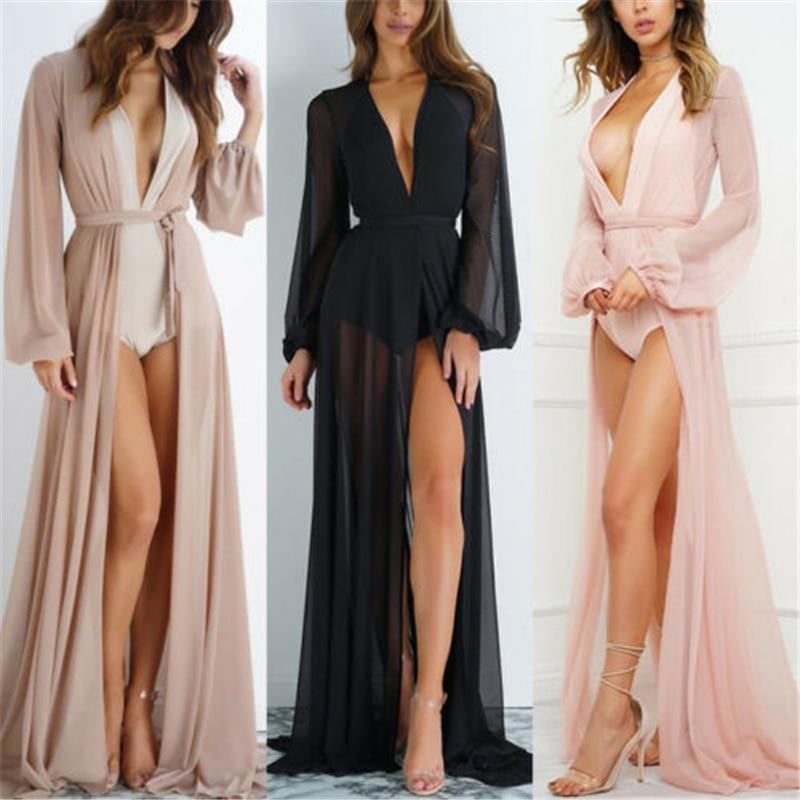 2020 Summer Brand Feminino Women Transparent Beach Maxi Dress Swimwear Bikini Cover-up Tunic Chiffon Female Bathing Suit(China)