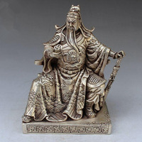 Collectible Decorated Handwork Tibet Silver Guan gong guan yu statue family decoration gift metal handicraft Statue