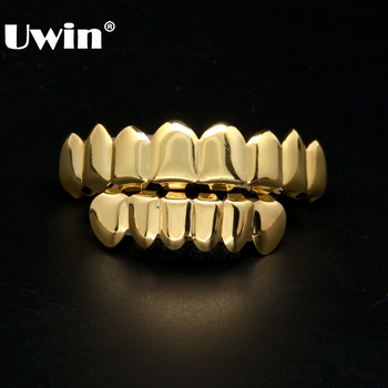 18K Gold Plated Cooper Grillz 8 Teeth Top & 6 Teeth Bottom Grills Set Slugs Hip Hop Mouth Teeth Caps Grills Party Gift headset icon white png