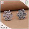Hot Sale Best Quality European Popular Shinning 925 Real Silver Snowflake Earring Stud