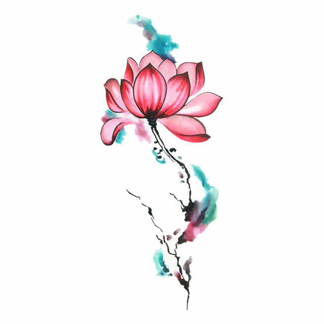 Impermeable Temporal Tatuaje Pegatinas Cool Sexy Rosa Flores De Loto