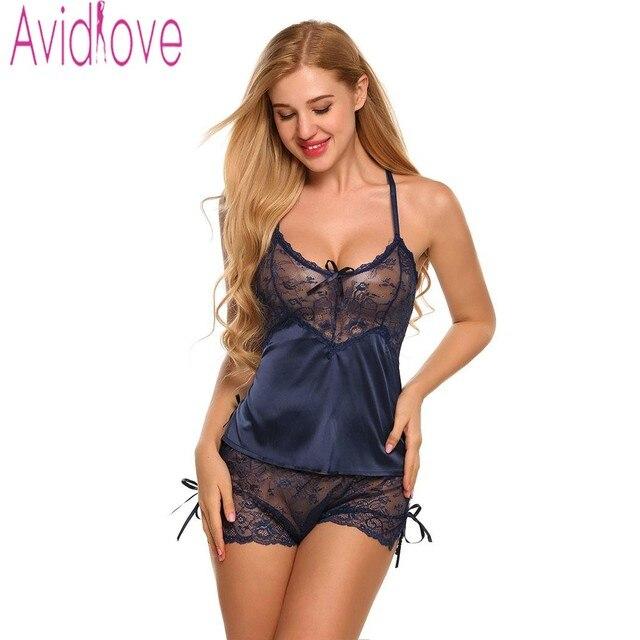a33043e848 Avidlove Homewear Sexy Satén de seda pijamas de las mujeres conjunto de  lencería de encaje Pijama
