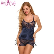 Avidlove Women Sexy Silk Satin Pajama Set Lace Pyjama Sleeveless Pijama V-neck Sleepwear Summer Sleep Wear For