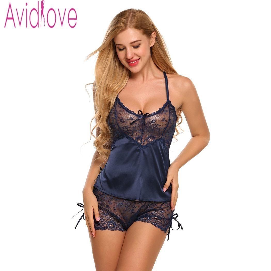 Avidlove Homewear Sexy de satén de seda Pijama de Mujer conjunto de encaje Lencería de Pijama Mujer cuello pico camisón ropa de dormir para Mujer