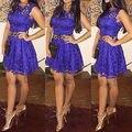 Ретро Женщины Фиолетовый Кружева Bodycon Торжеств и Вечеринок Короткие Мини Платья Size6-14
