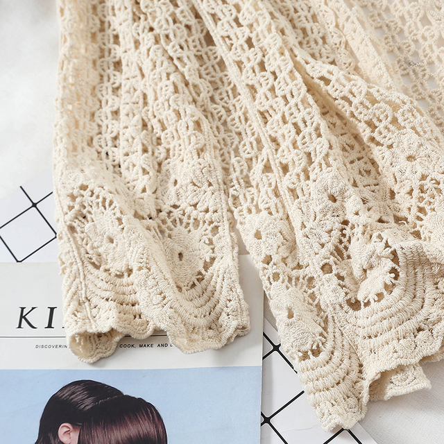 Open Lace Cardigan Crocheted Hollow Out Shrug Female Casual White Flower Floral Open Stitch Women Sweater Loose Knitted Outwear 6