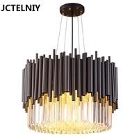 New Luxurious Modern LED Crystal Lights Stainless Steel Simple Atmospheric Art Nordic Light Villa Restaurant Crystal