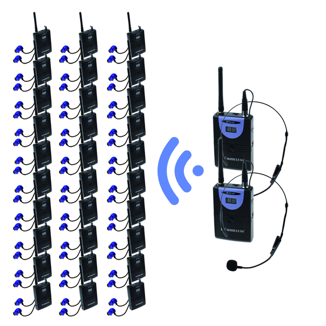TP-WIRELESS Tour Guide System for Tour Guiding Interpretation with Professional XLR Microphone and Drop-proof Earphone 2 Tx