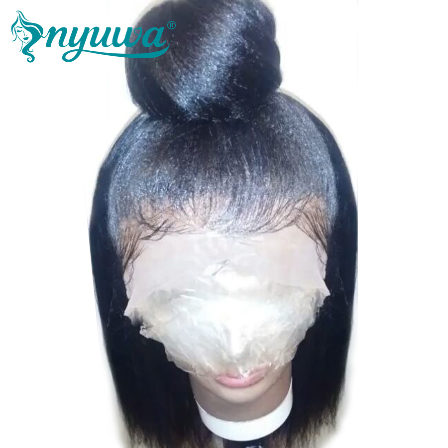 Elva Hair 130% Density Yaki Straight Lace Front Wigs Brazilian Remy Hair Natural Black Color Human Hair Wig With Bleacked Knots