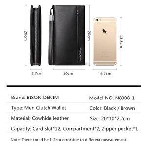 Image 3 - BISON DENIM cartera larga de cuero genuino para hombre, bolso de mano, billetera de piel de vaca, monedero, billetera de negocios N8008