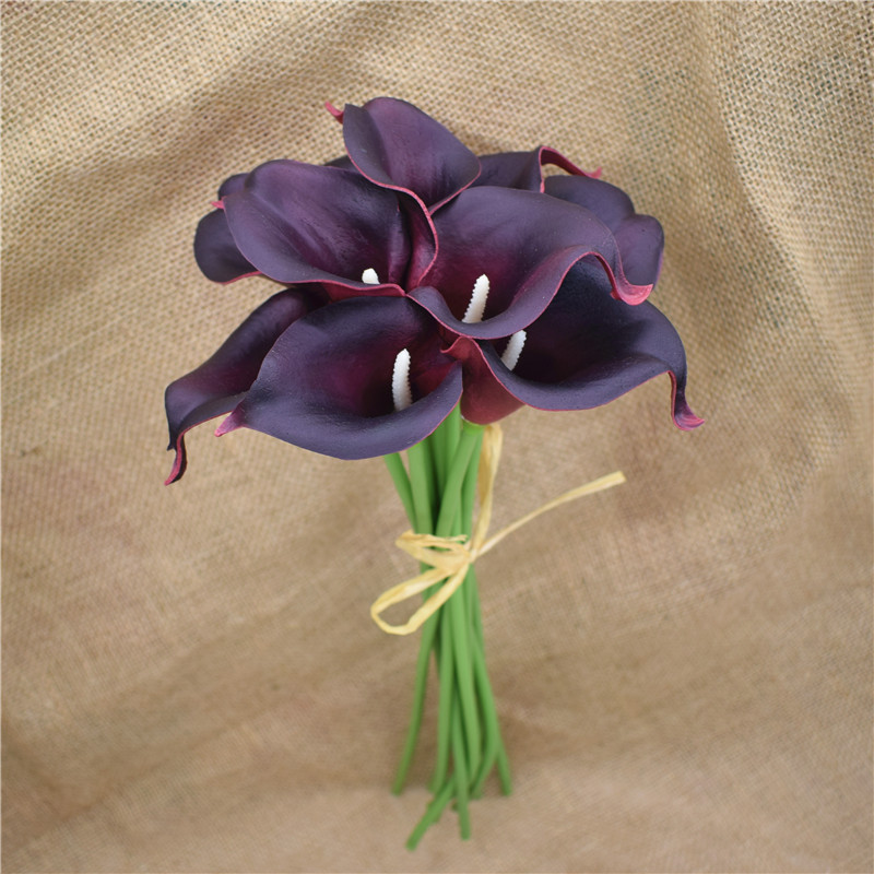 Unique Navy Blue Picasso Calla Lilies Real Touch Flowers For Wedding  JI61