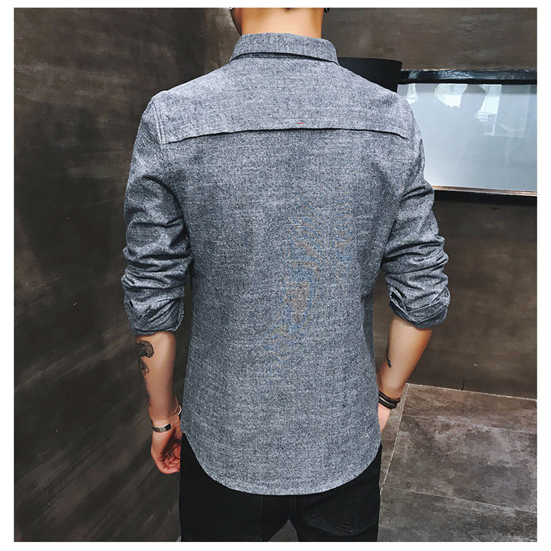 2019 spring new men's shirt Korean version of the self-cultivation youth casual business cotton shirt tide men's boutique shirt 6