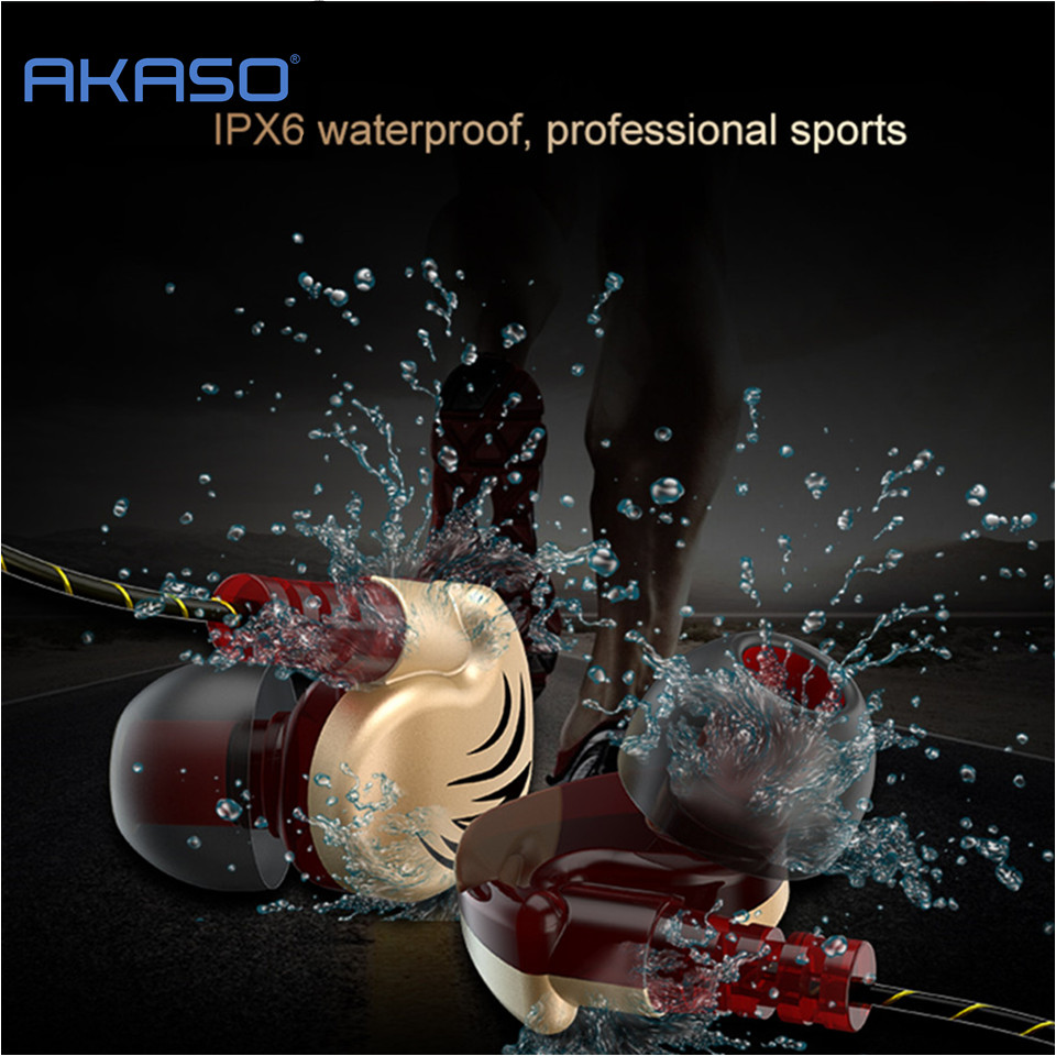 AKASO waterproof Sport Earphone Headphone HiFi Stereo Bass Mp3 player Music Headset with Microphone Hands Micro Earpiece Earbuds sport super bass stereo earphone 3 5mm jack headset hands free headphone with mic music earphone for all phone computer pc