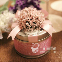 Wedding candy box candy bag packaging European tinplate candy box Lavender round iron box