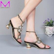 Kätzchen Ferse Gold Strass Hochzeit Sandalen slingback komfortable Partei tanzen Schuhe Blockabsatz 2 Zoll Sommer Kleid Schuhe