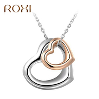ROXI 5pcs Lot Collier Femme Double Heart Pendant For Lover Couple Silver Statement Necklace Clavicle Necklace