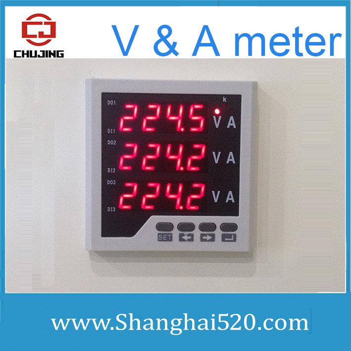 US $48 31 |3 phase V & A meter three phase voltage and ampere instrument  display Voltage and current monitor at same time in stocks-in Current  Meters