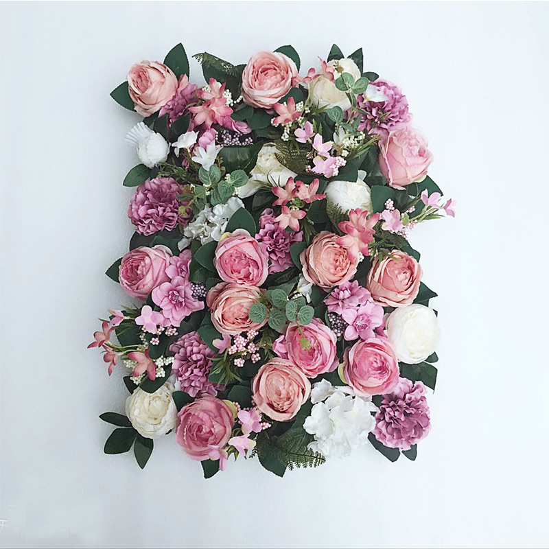 JAROWN Artificial Flower Row Simulation Rose Peony Hydrangea Background Wall Fake Flowers Wedding Feast Arrangement Props Flores (9)