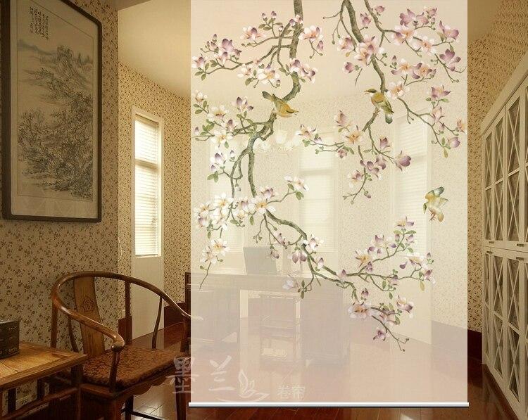 Nouveau chinois doux cloison écran porche suspendus obturateur rideau obturateur écran créatif pour la chambre Simple fleurs-magnolia
