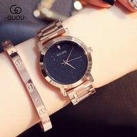 GUOU AAA miłośników Zegarków Kwarcowych Zegarków Marki Kobiety Mężczyźni Ubierają Zegarki Full Steel Zegarki Casual Zegarki Różowe Złoto GU003