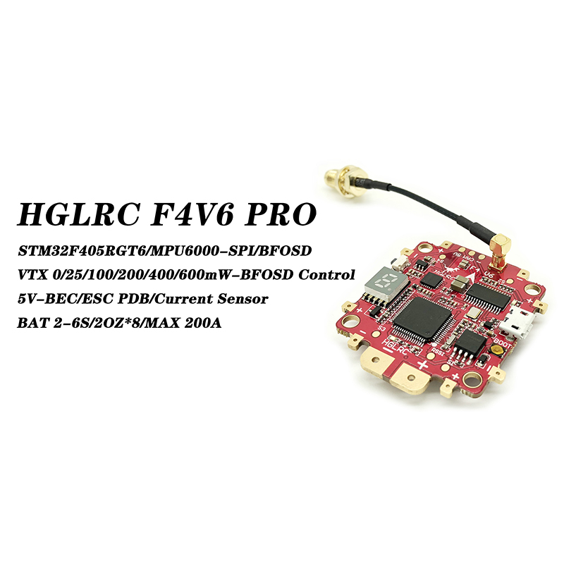 HGLRC F4 V6PRO Flight Controll 0/25/100/200/400/600mW 5.8G 48CH Switchable FPV Transmitter/5V 3A BEC PDB 2-6S FC & VTX Model new f4 v6pro flight control with 5 8g 48ch vtx 0 25 100 200 400 600 switchable transmitter 5v bec osd pdb for drone