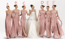 Modest Mix Order Sexy Strapless Pleated Pink Chiffon Floor Length Long Bridesmaid Dresses 2015