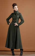 2016 Winter Women Coat Wool Coat Vintage Retro Double Breasted Elegant X long Woolen Outerwear Coat
