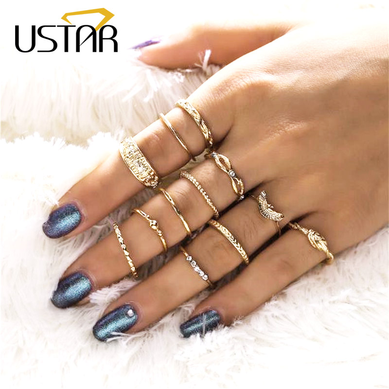 USTAR Vintage Boho eagle Midi Rings For Women Antique Gold Color Geometric Bohemia Knuckle Finger Rings set Jewelry Anel