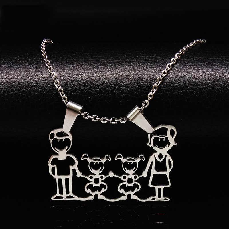 Naszyjnik ze stali nierdzewnej Mama rodzina naszyjniki biżuteria kolor srebrny miłość chłopiec dziewczyna wisiorek Choker naszyjnik kobiety prezent N2201
