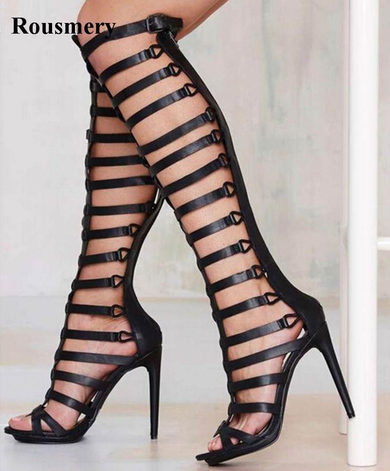 Women Fashion Design Open Toe Black Leather Knee High Strap Gladiator Boots Cut-out Thin High Heel Boots Dress ShoesWomen Fashion Design Open Toe Black Leather Knee High Strap Gladiator Boots Cut-out Thin High Heel Boots Dress Shoes