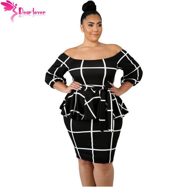 497947b52 Dear Lover Large Size Women Clothing Autumn 3 4 Sleeve Black White Checked Off  Shoulder Plus Size Peplum Dress 4XL 5XL LC63041