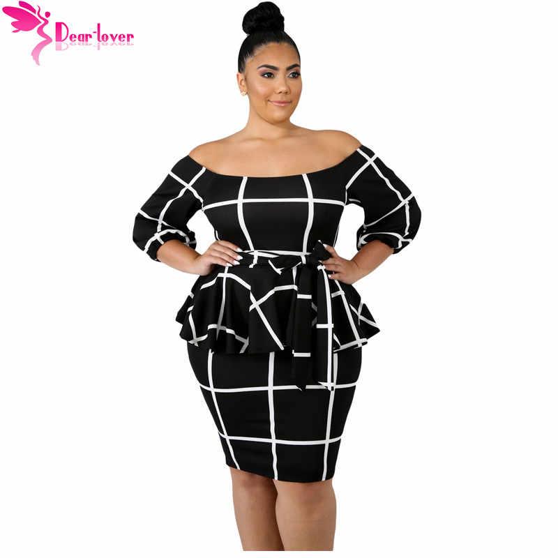 066203b6d5266 Dear Lover Large Size Women Clothing Autumn 3/4 Sleeve Black White ...