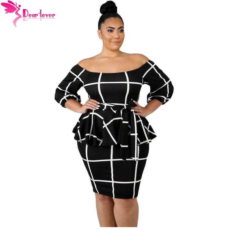 935db6042194 Estimado amante de gran tamaño ropa de mujer otoño 3/4 manga negro blanco a  cuadros de hombro más tamaño Peplum vestido 4XL 5XL LC63041