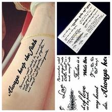 1PC Indian Body Arm Black Feather Words Temporary Tattoo Sticker HA53 Word Art Lettering Waterproof Tattoo Paste Removable Tatoo