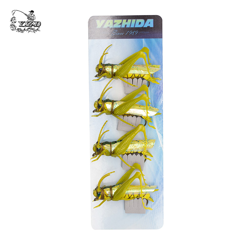 Grasshopper Cricket Dry Fly Fishing Fluer Set 4PCS kit Fluer Tynger - Fiskeri - Foto 5