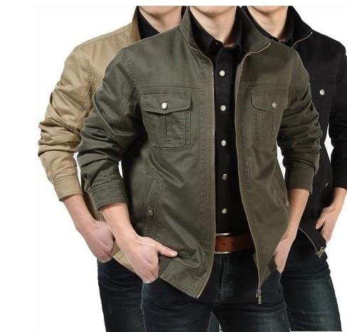 High Quality Vintage Military Jacket casual men cotton Mandarin ...